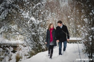 portrait photograph of young couple in jackson hole winter snow