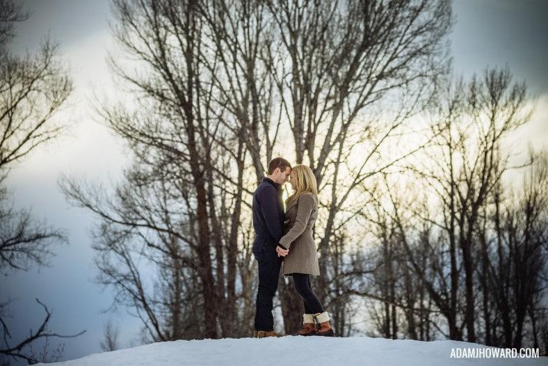 natural light photography, winter portrait, snow engagement, jackson hole photographer