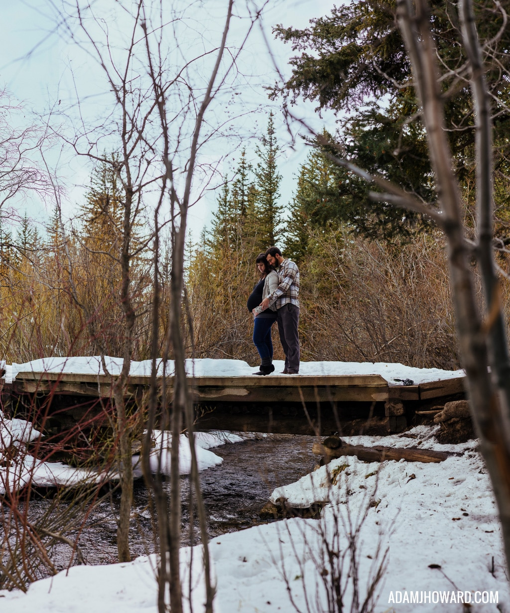 Brenizer Method, Jackson Hole Maternity Photographer, Maternity Session, Winter, Snow, Bridge