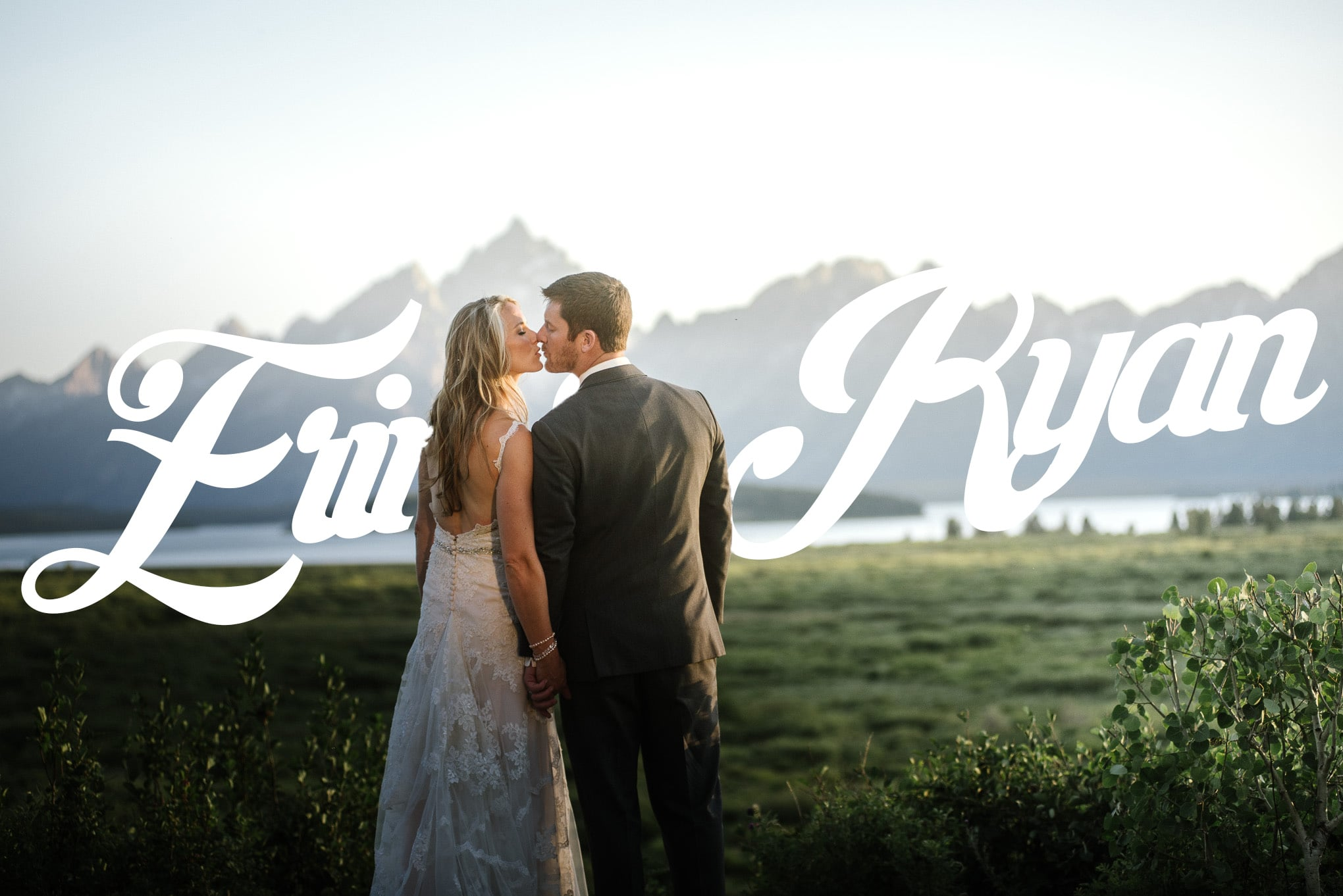 photograph of couple kissing in a beautiful mountain wedding in jackson hole wyoming